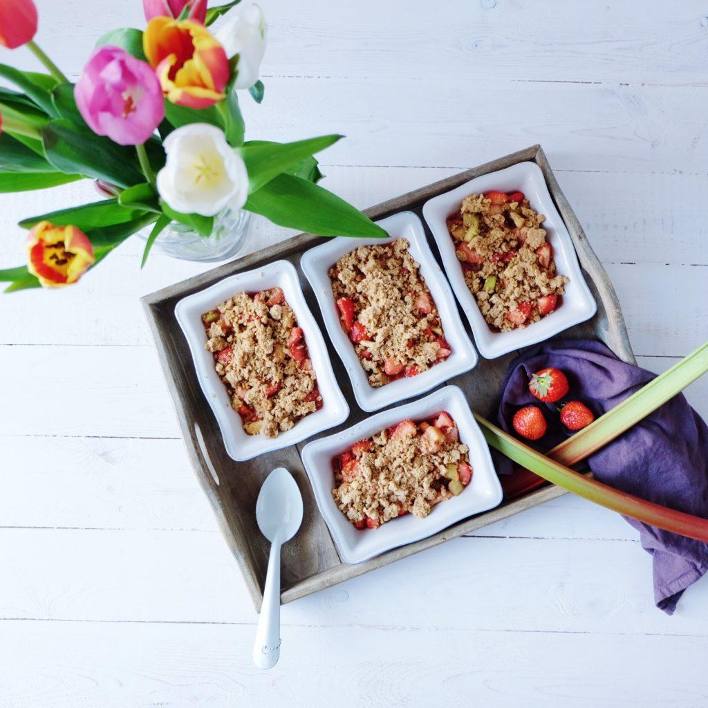 crumble fraises rhubarbes